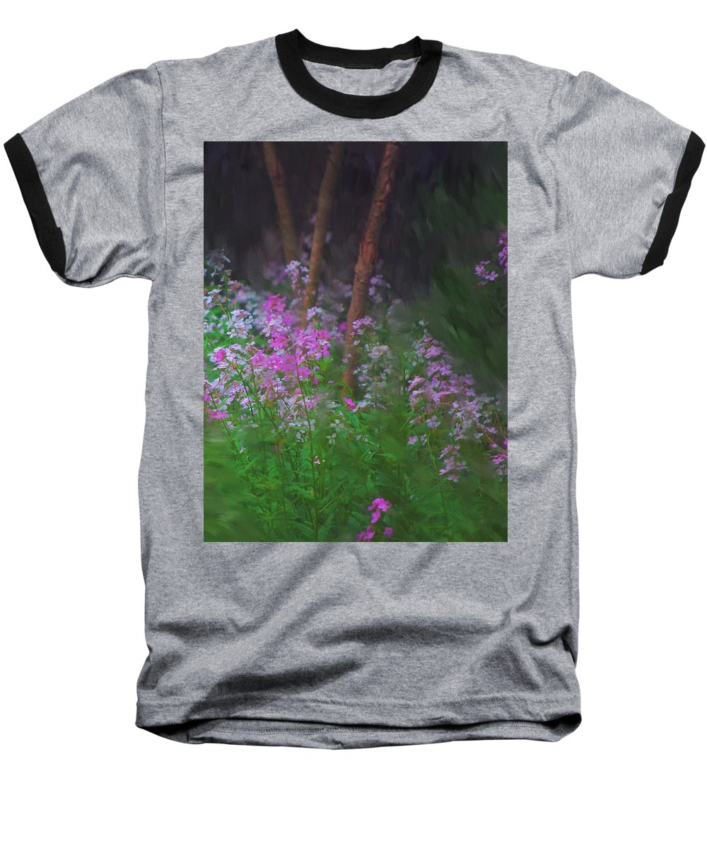 Landscape Baseball T-Shirt featuring the painting Flowers In The Woods by David Lane