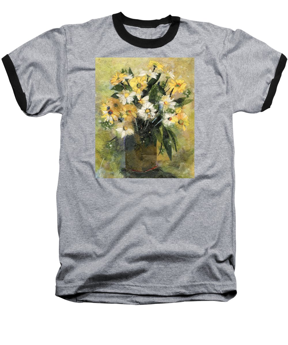 Limited Edition Prints Baseball T-Shirt featuring the painting Flowers In White And Yellow by Nira Schwartz