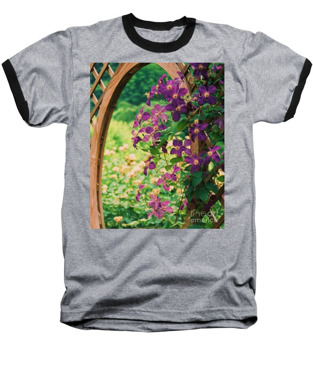 Floral Baseball T-Shirt featuring the painting Flowers On Vine by Eric Schiabor