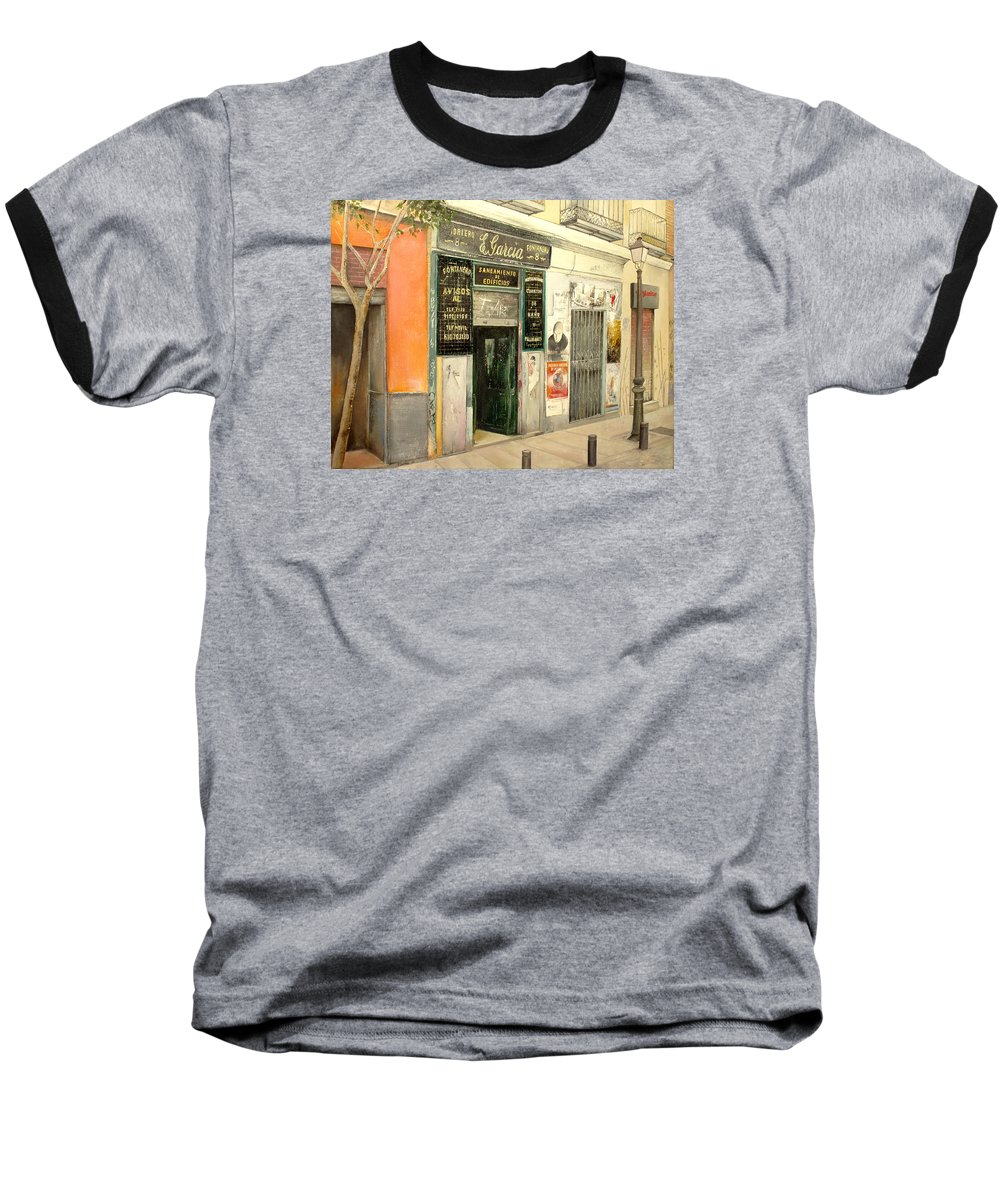 Streetscene Baseball T-Shirt featuring the painting Fontaneria E.garcia by Tomas Castano