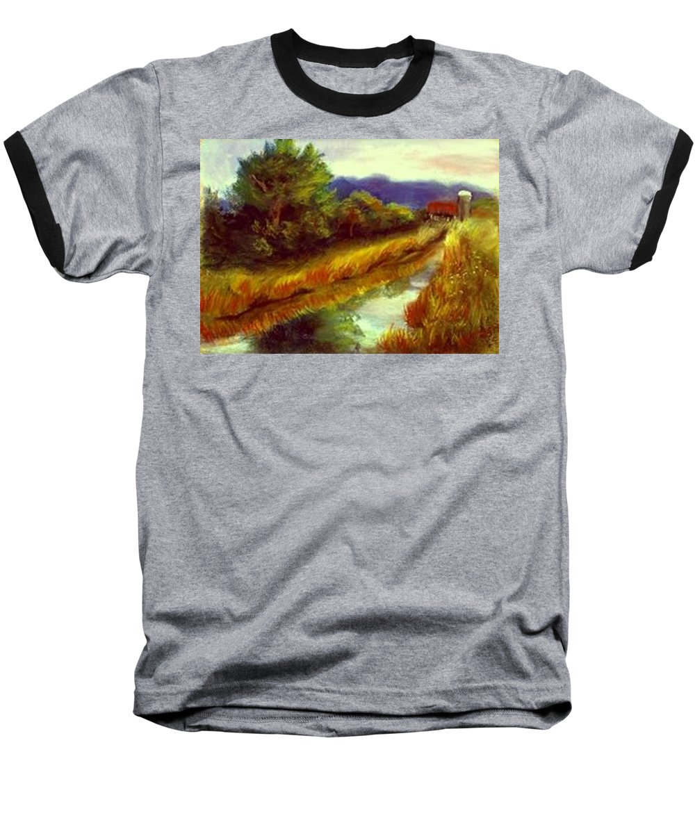 Landscape Baseball T-Shirt featuring the painting For A Thirsty Land by Gail Kirtz