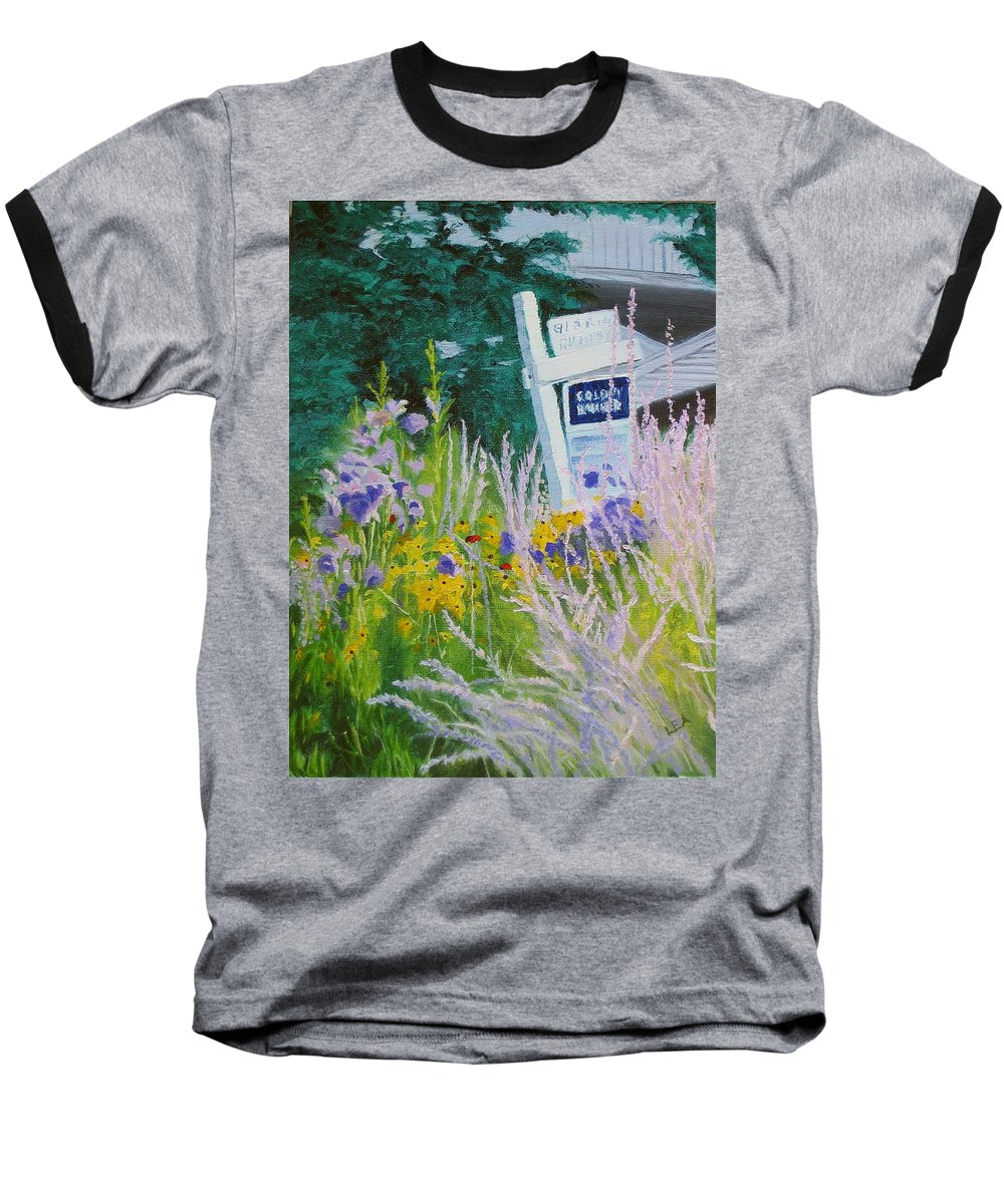 Landscape Baseball T-Shirt featuring the painting For Sale - A Patch Of Paradise by Lea Novak