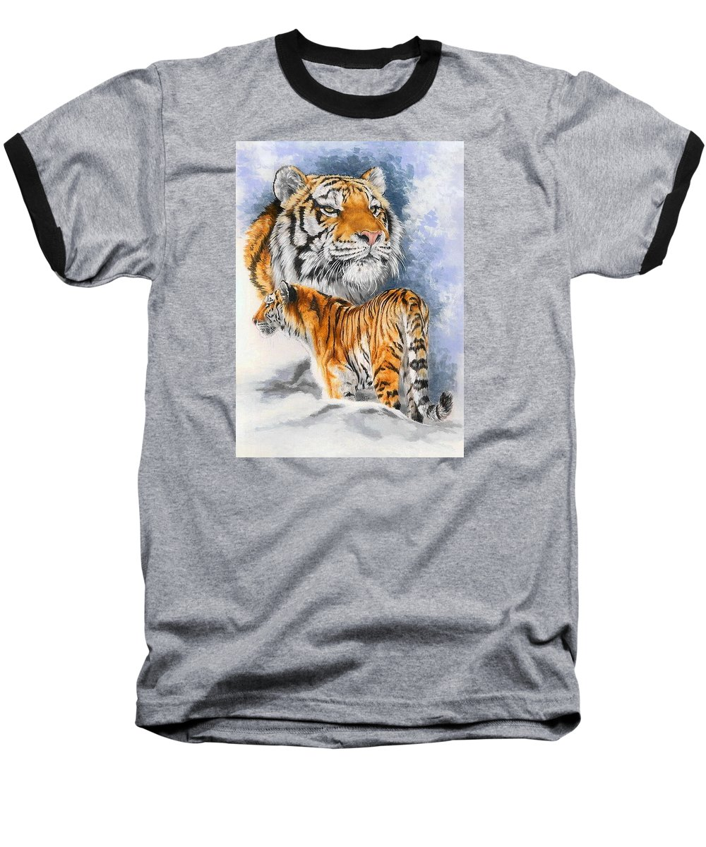 Big Cats Baseball T-Shirt featuring the mixed media Forceful by Barbara Keith