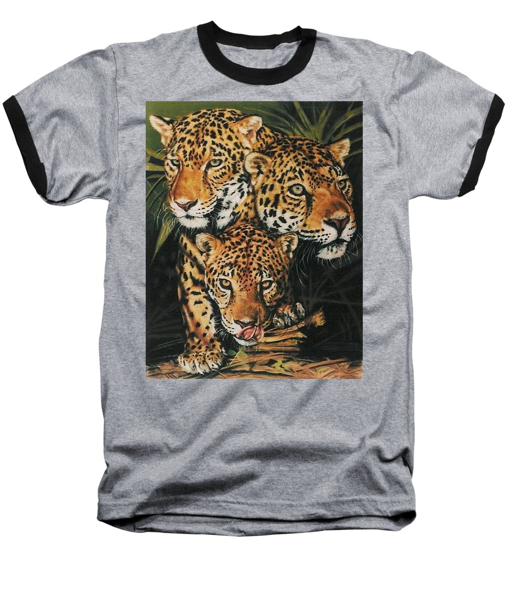 Jaguar Baseball T-Shirt featuring the pastel Forest Jewels by Barbara Keith