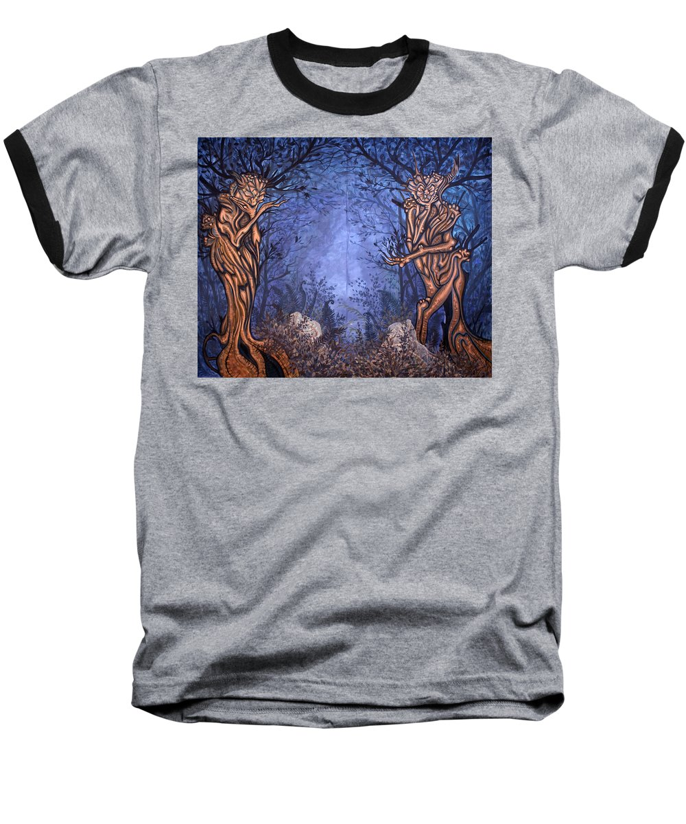 Mystic Baseball T-Shirt featuring the painting Forest by Judy Henninger