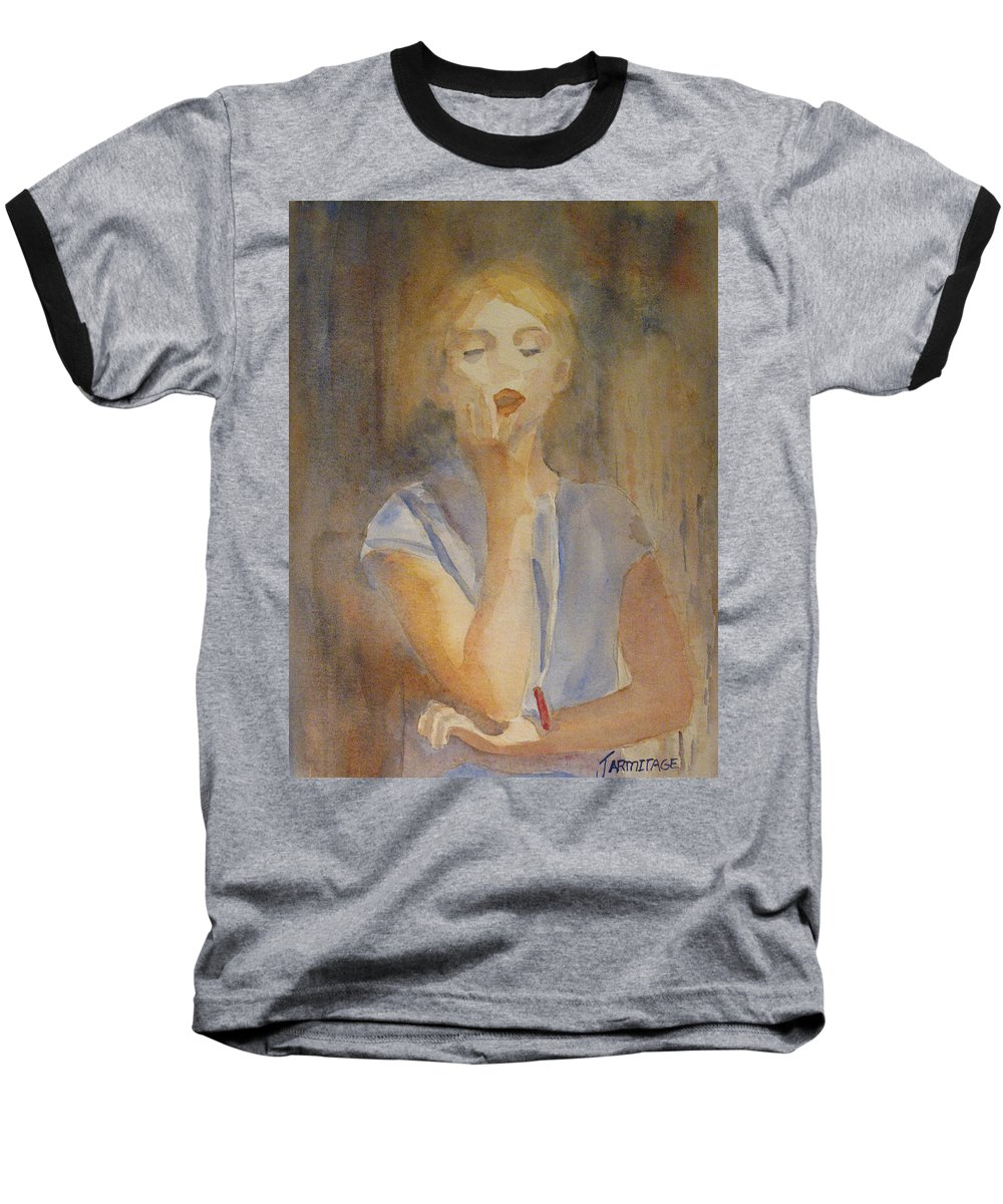 Woman Baseball T-Shirt featuring the painting Forest Singer by Jenny Armitage