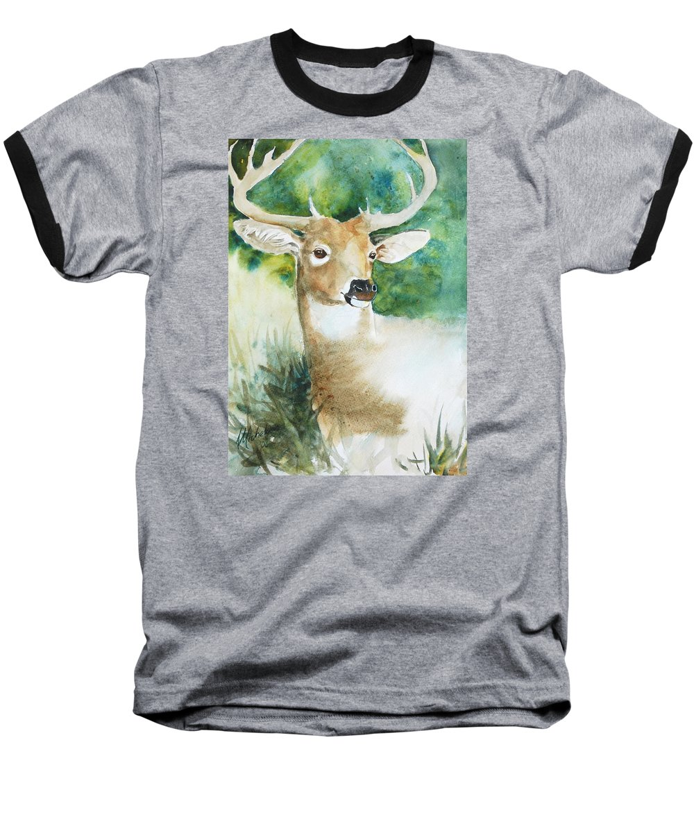 Deer Baseball T-Shirt featuring the painting Forest Spirit by Christie Michelsen