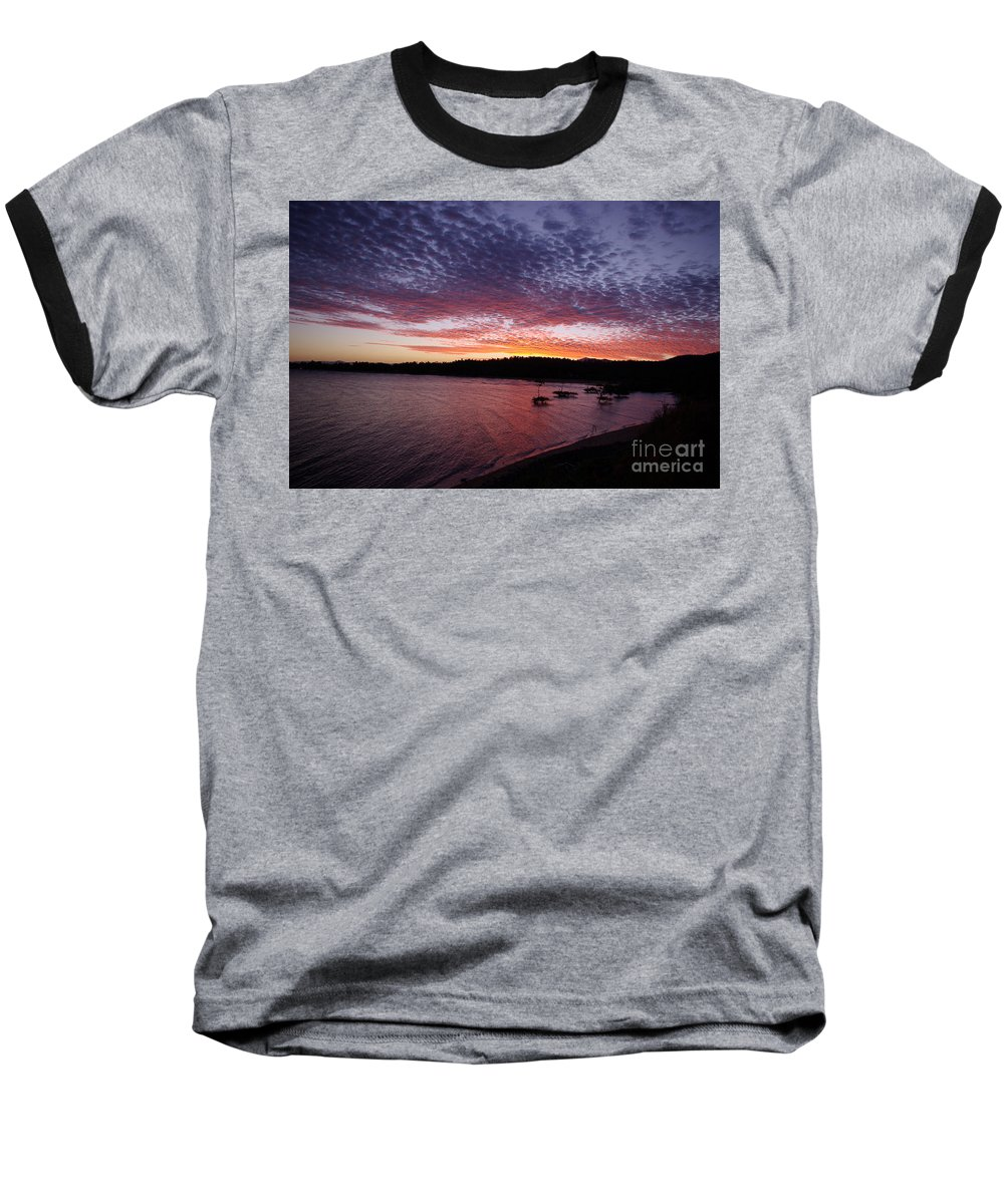 Landscape Baseball T-Shirt featuring the photograph Four Elements Sunset Sequence 1 Coconuts Qld by Kerryn Madsen - Pietsch