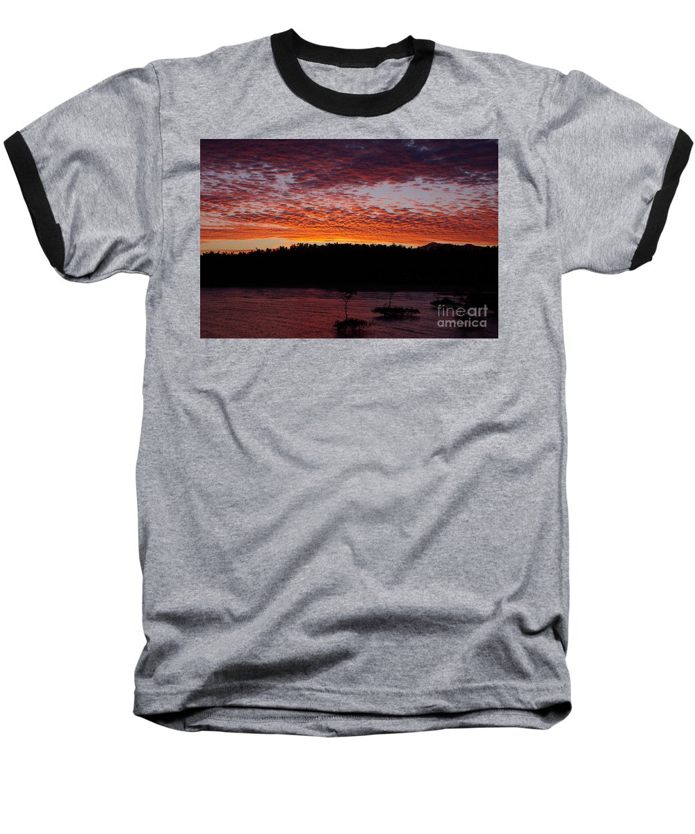 Landscape Baseball T-Shirt featuring the photograph Four Elements Sunset Sequence 2 Coconuts Qld by Kerryn Madsen - Pietsch