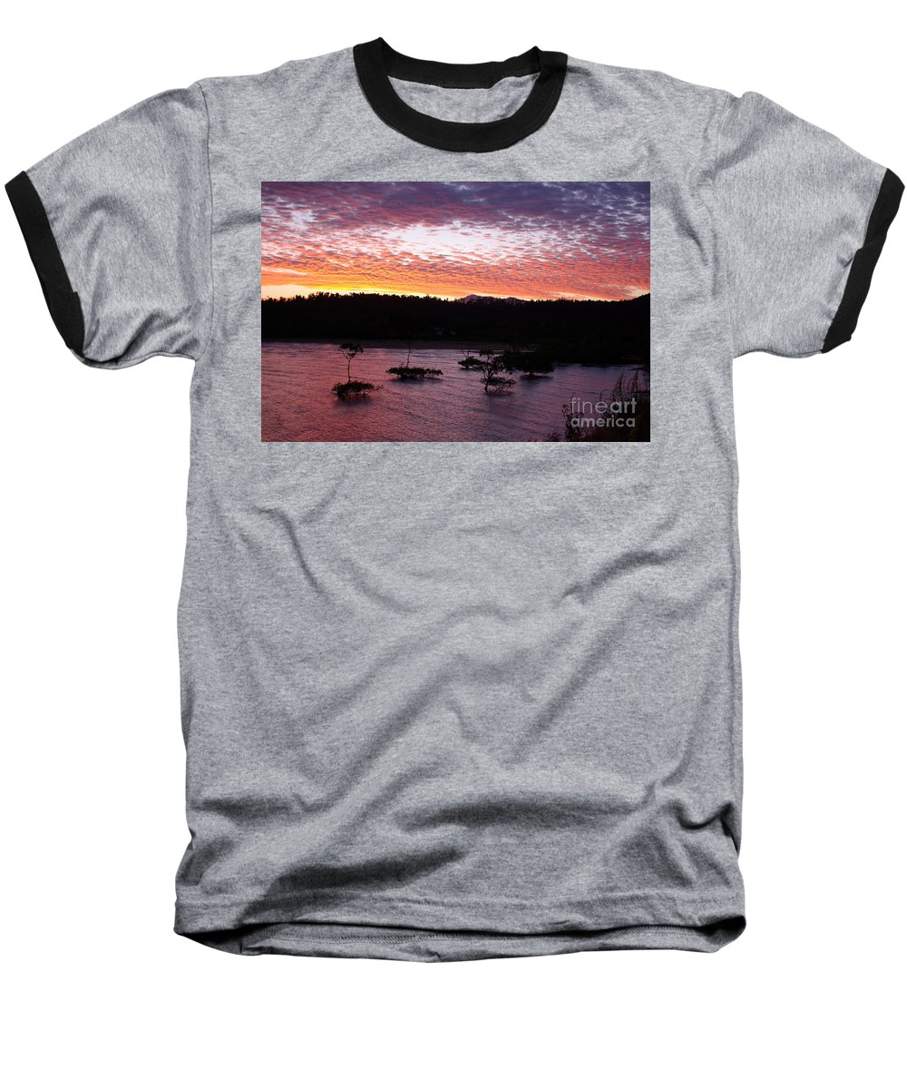 Landscape Baseball T-Shirt featuring the photograph Four Elements Sunset Sequence 3 Coconuts Qld by Kerryn Madsen - Pietsch