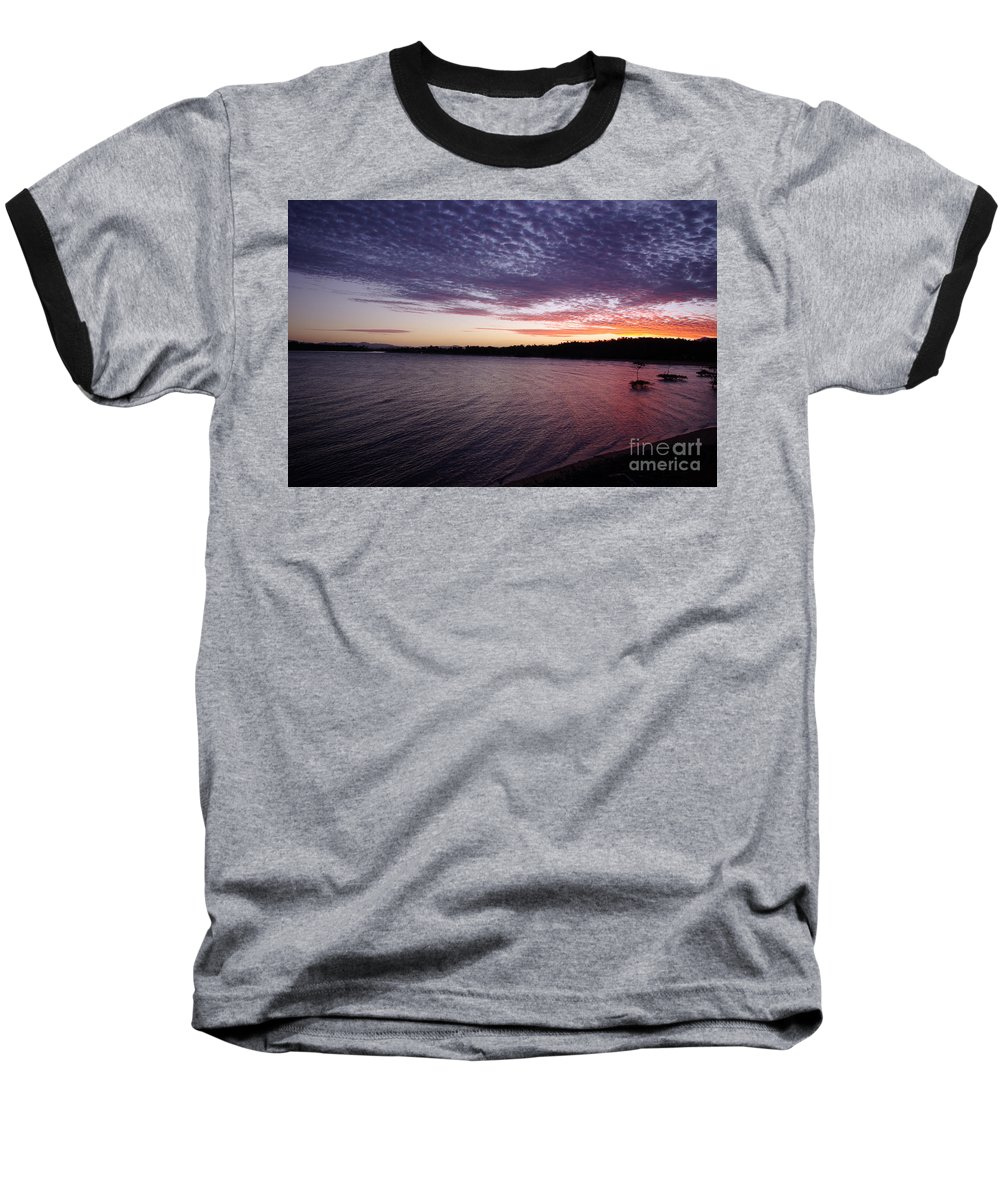 Landscape Baseball T-Shirt featuring the photograph Four Elements Sunset Sequence 4 Coconuts Qld by Kerryn Madsen- Pietsch
