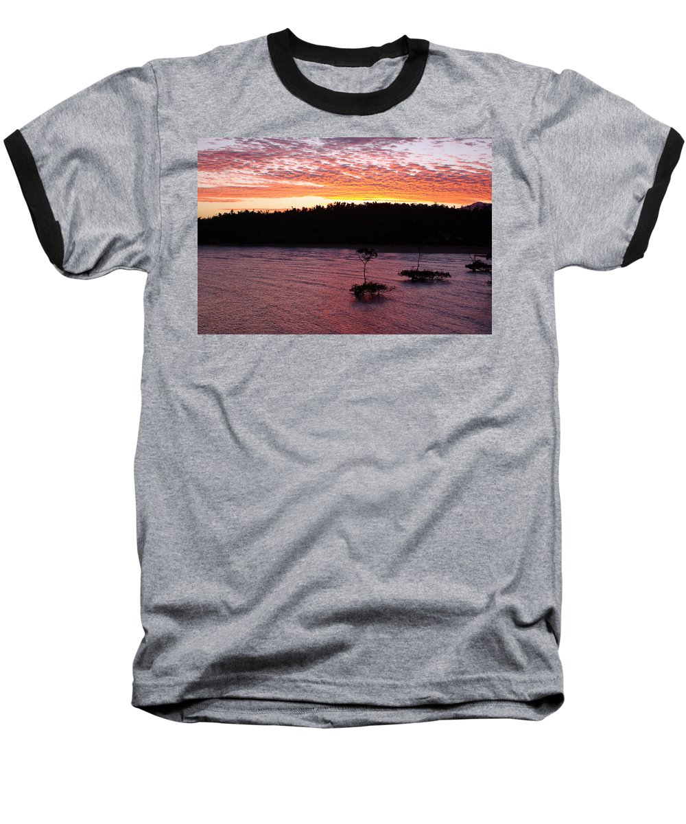 Landscape Baseball T-Shirt featuring the photograph Four Elements Sunset Sequence 5 Coconuts Qld by Kerryn Madsen - Pietsch