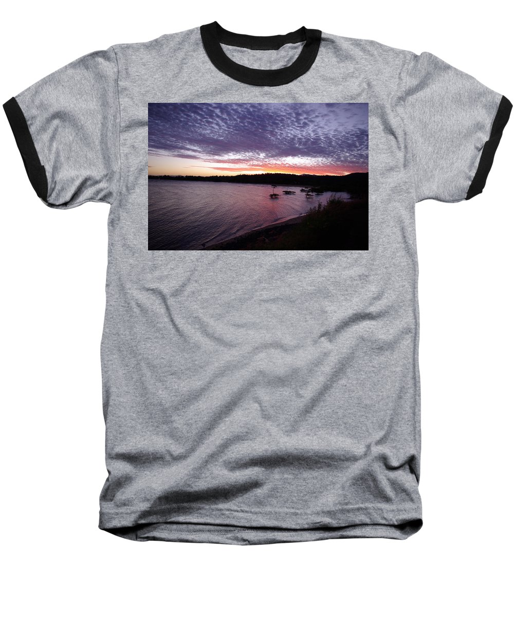 Landscape Baseball T-Shirt featuring the photograph Four Elements Sunset Sequence 6 Coconuts Qld by Kerryn Madsen-Pietsch