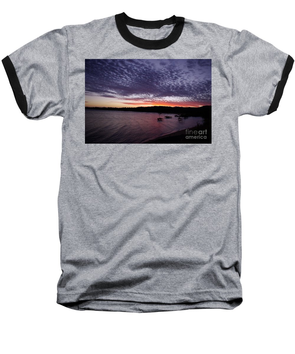 Landscape Baseball T-Shirt featuring the photograph Four Elements Sunset Sequence 7 Coconuts Qld by Kerryn Madsen - Pietsch