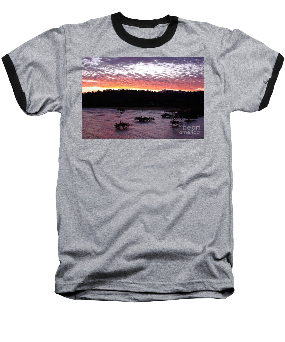 Landscape Baseball T-Shirt featuring the photograph Four Elements Sunset Sequence 8 Coconuts Qld by Kerryn Madsen - Pietsch