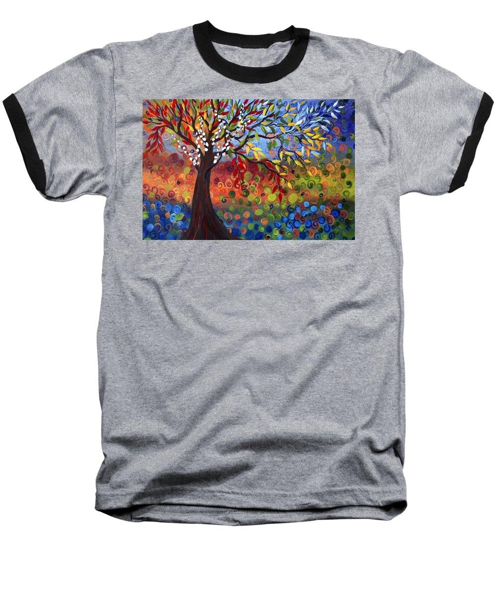 Art Baseball T-Shirt featuring the painting Four Seasons by Luiza Vizoli