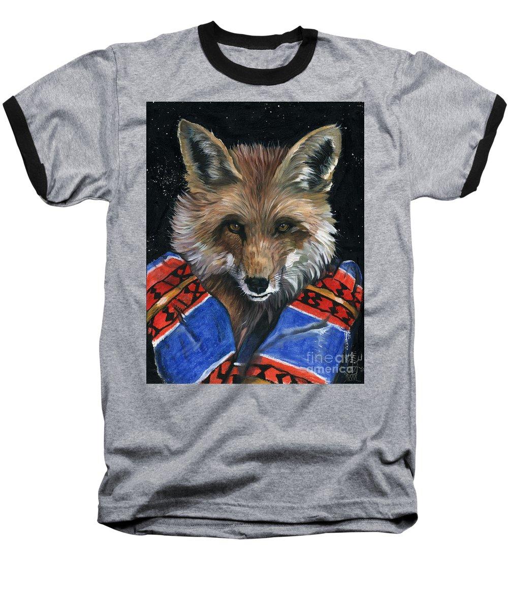 Fox Baseball T-Shirt featuring the painting Fox Medicine by J W Baker