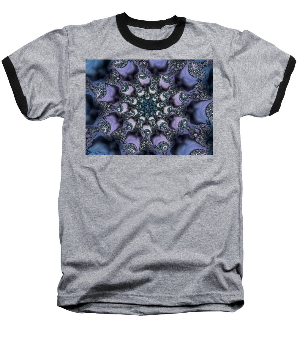 Fractal Rose Blossom Nature Life Organic Baseball T-Shirt featuring the digital art Fractal 1 by Veronica Jackson