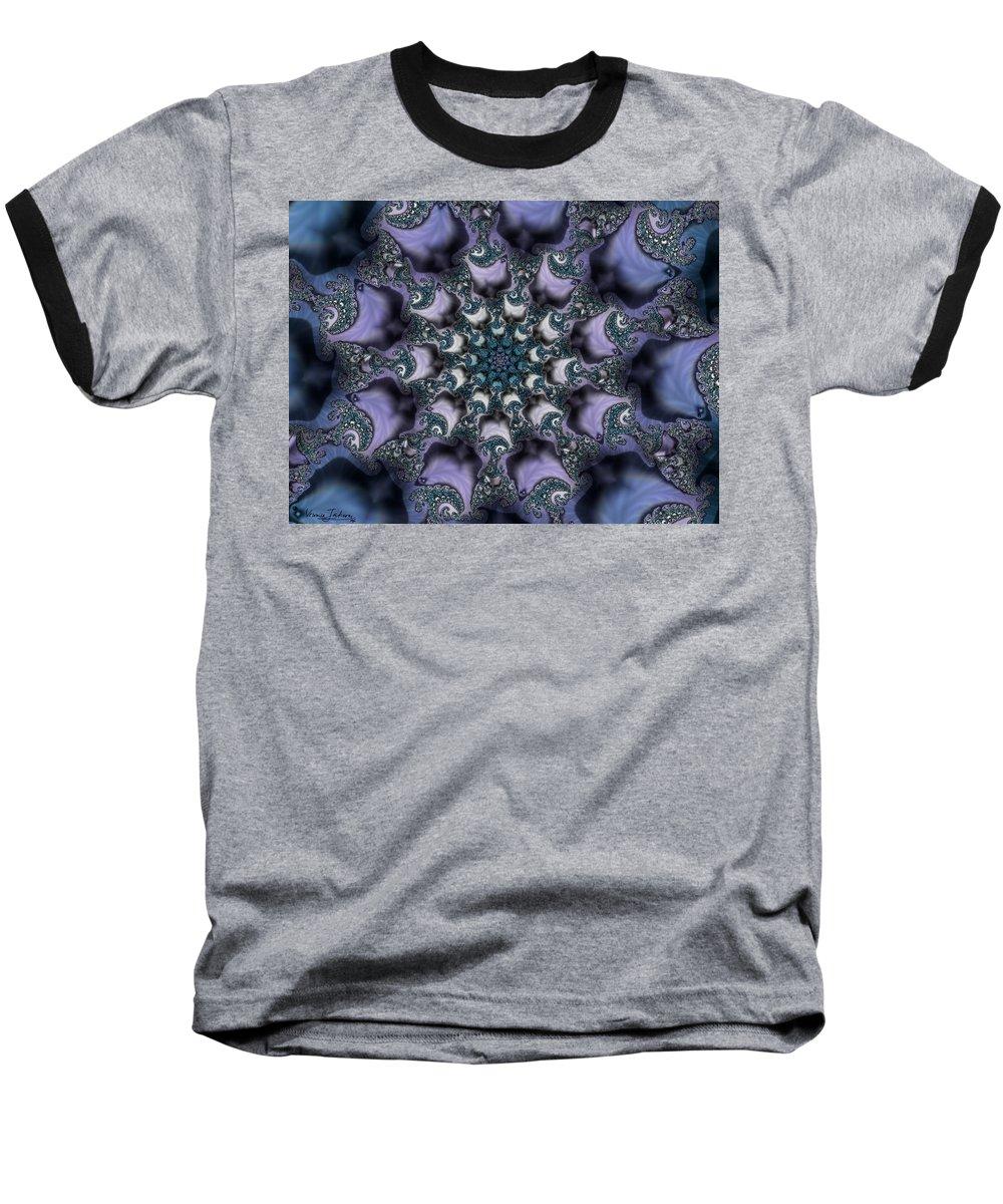 Fractal Rose Blossom Nature Life Organic Baseball T-Shirt featuring the digital art Fractal 1 by Veronica Jackson