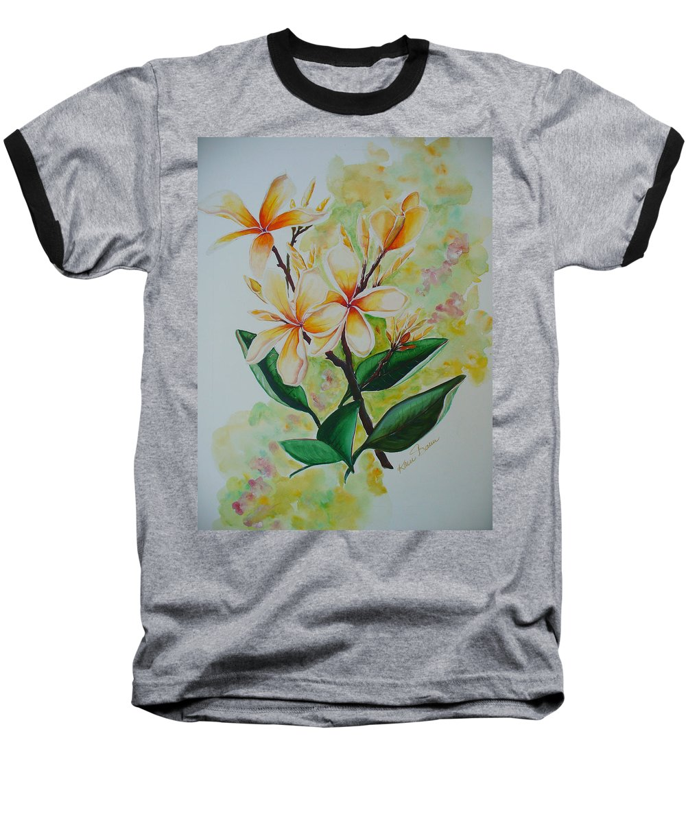 Baseball T-Shirt featuring the painting Frangipangi by Karin Dawn Kelshall- Best