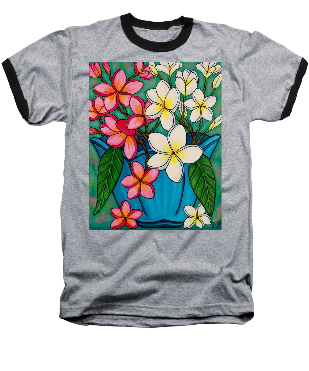 Frangipani Baseball T-Shirt featuring the painting Frangipani Sawadee by Lisa Lorenz