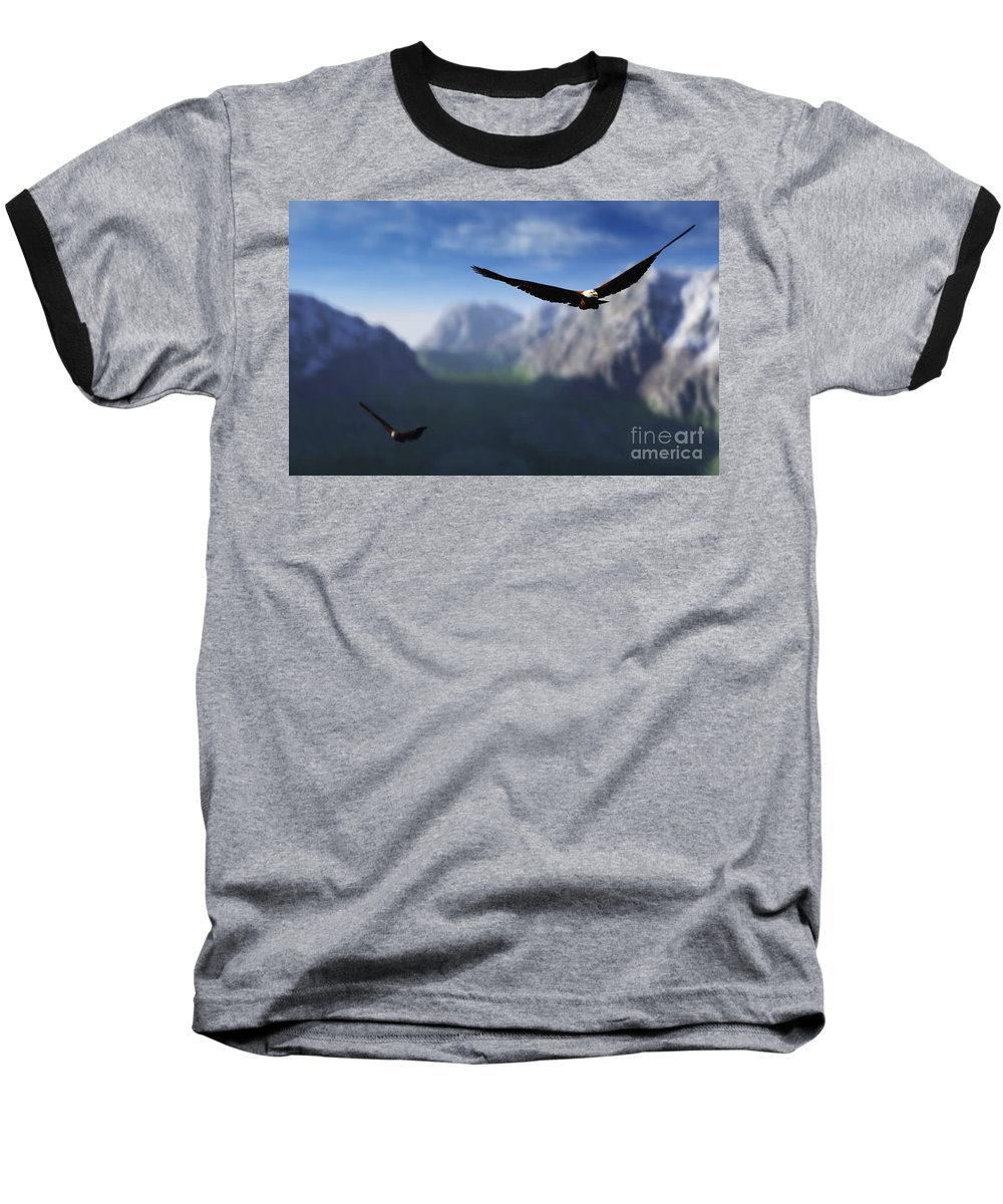 Eagles Baseball T-Shirt featuring the digital art Free Bird by Richard Rizzo