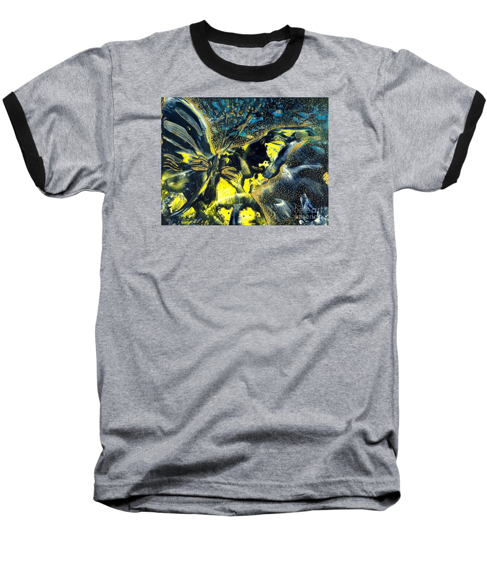 Butterfly Baseball T-Shirt featuring the painting Freedom For Margot by Heather Hennick