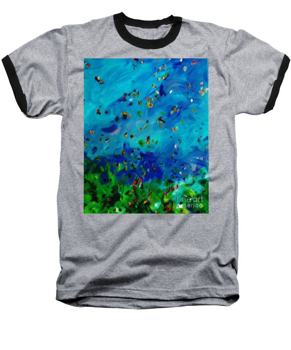 Landscape Baseball T-Shirt featuring the painting Freelancing by Reina Resto