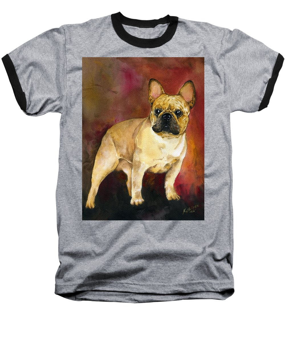 French Bulldog Baseball T-Shirt featuring the painting French Bulldog by Kathleen Sepulveda