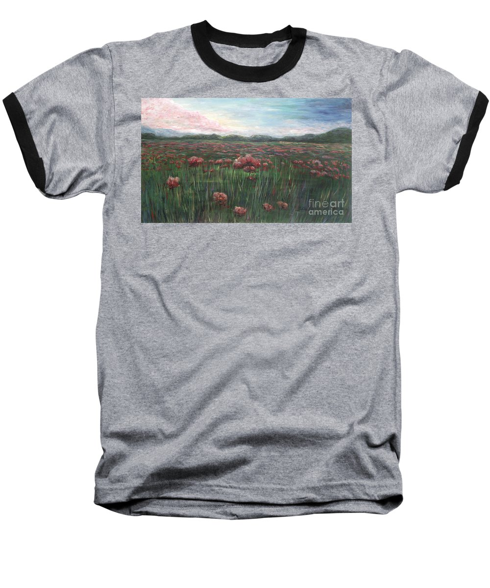 France Baseball T-Shirt featuring the painting French Poppies by Nadine Rippelmeyer