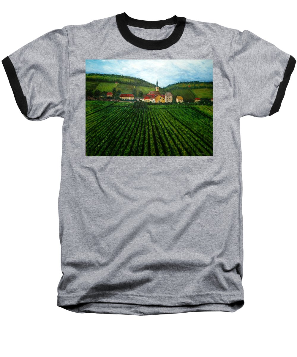 Acrylic Baseball T-Shirt featuring the painting French Village In The Vineyards by Nancy Mueller