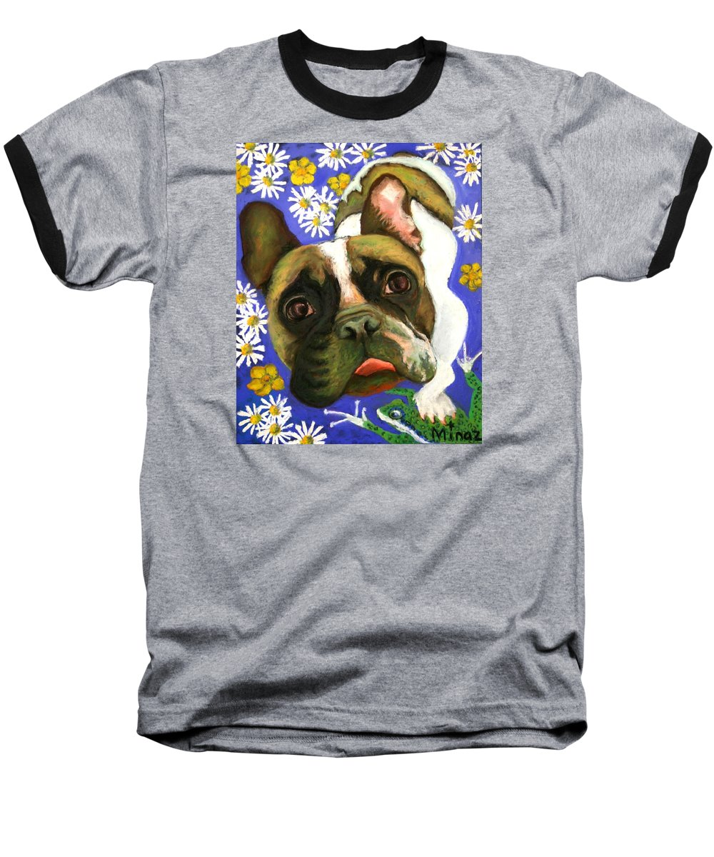 Pet Portrait Baseball T-Shirt featuring the painting Frenchie Plays With Frogs by Minaz Jantz