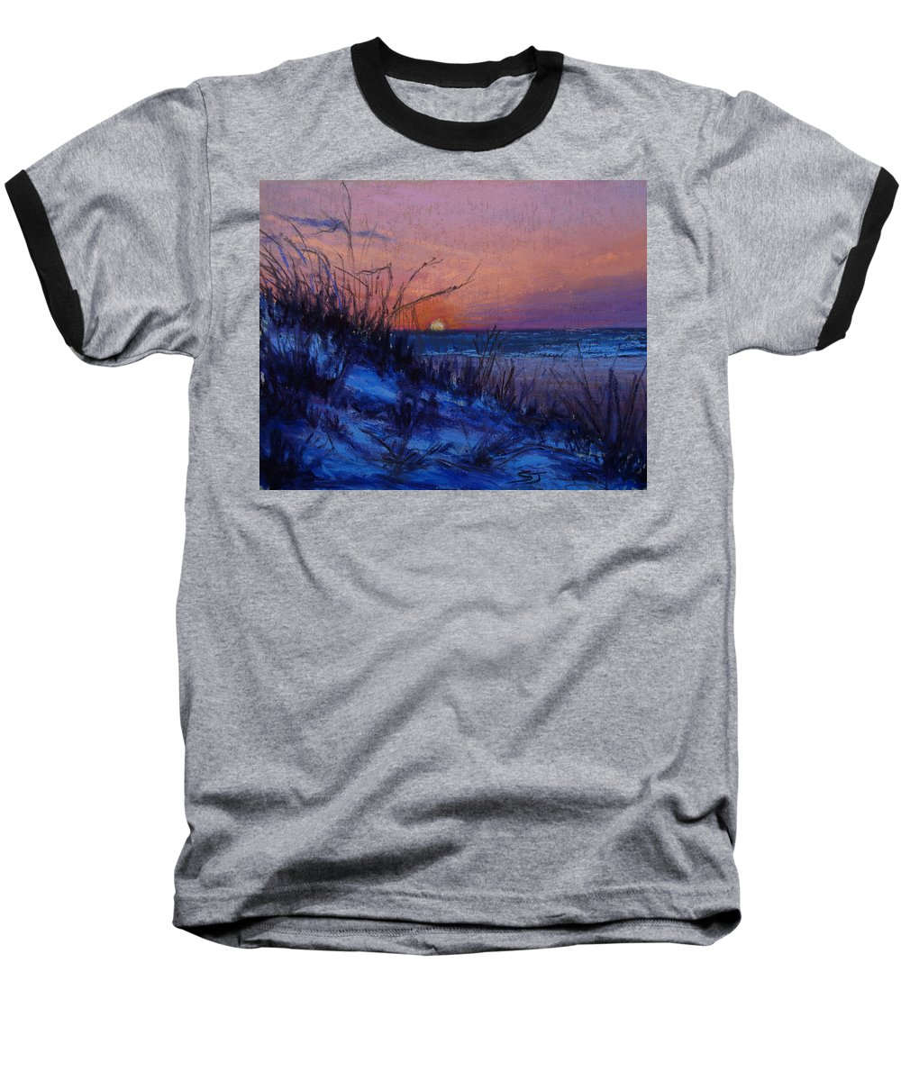 Landscape Baseball T-Shirt featuring the pastel Frenchy's Sunset by Susan Jenkins
