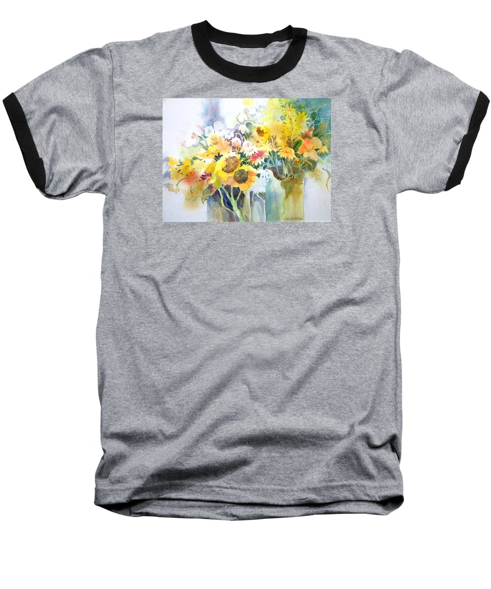 Contemporary;watercolor;sunflowers;daisies;floral; Baseball T-Shirt featuring the painting Fresh-picked by Lois Mountz