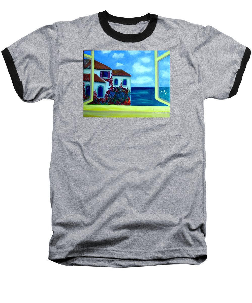 Seascape Baseball T-Shirt featuring the painting Fresh Sea Air by Laurie Morgan
