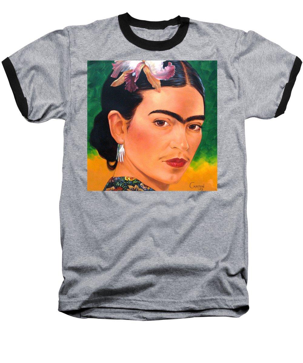 Frida Kahlo Baseball T-Shirt featuring the painting Frida Kahlo 2003 by Jerrold Carton