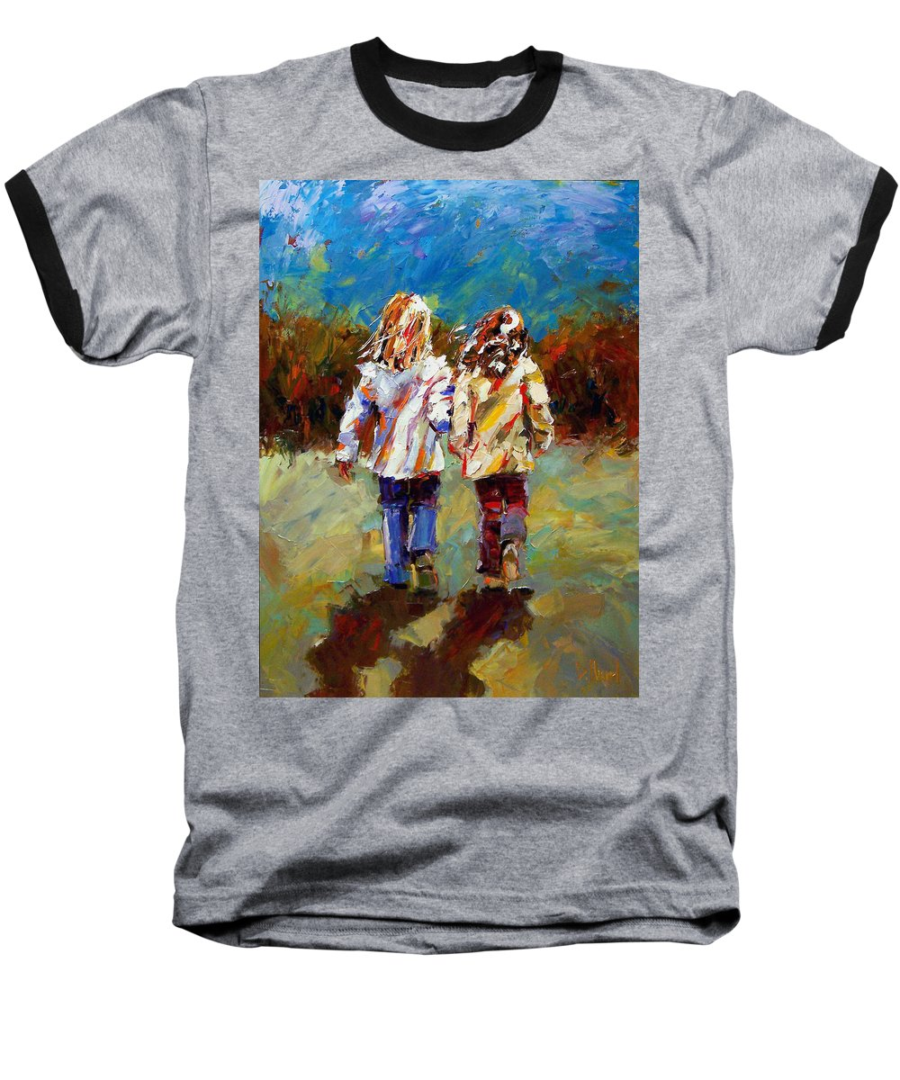 Girls Baseball T-Shirt featuring the painting Friends Forever by Debra Hurd