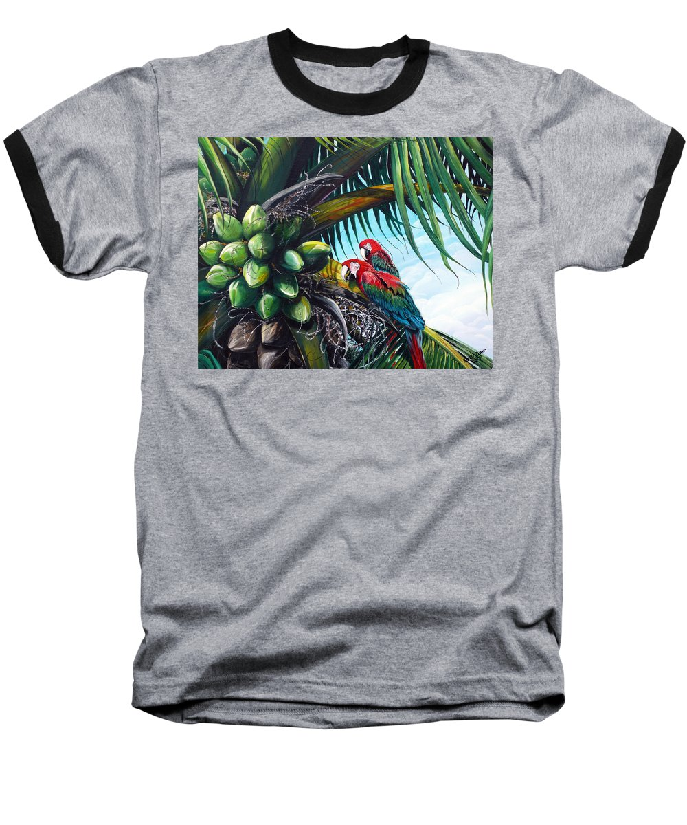 Macaws Bird Painting Coconut Palm Tree Painting Parrots Caribbean Painting Tropical Painting Coconuts Painting Palm Tree Greeting Card Painting Baseball T-Shirt featuring the painting Friends Of A Feather by Karin Dawn Kelshall- Best