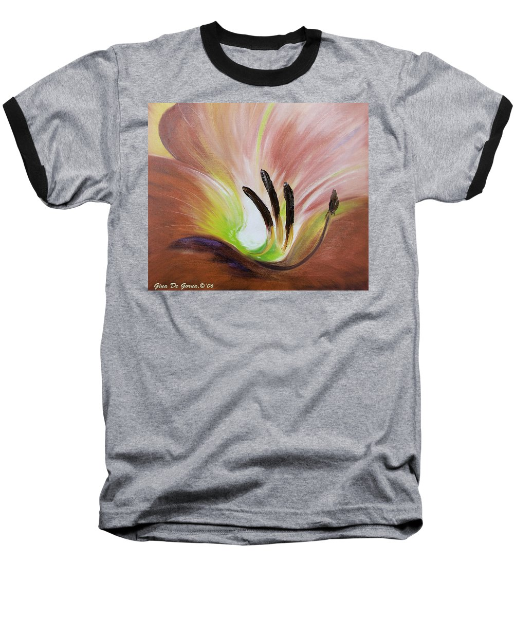 Brown Baseball T-Shirt featuring the painting From The Heart Of A Flower Brown 3 by Gina De Gorna