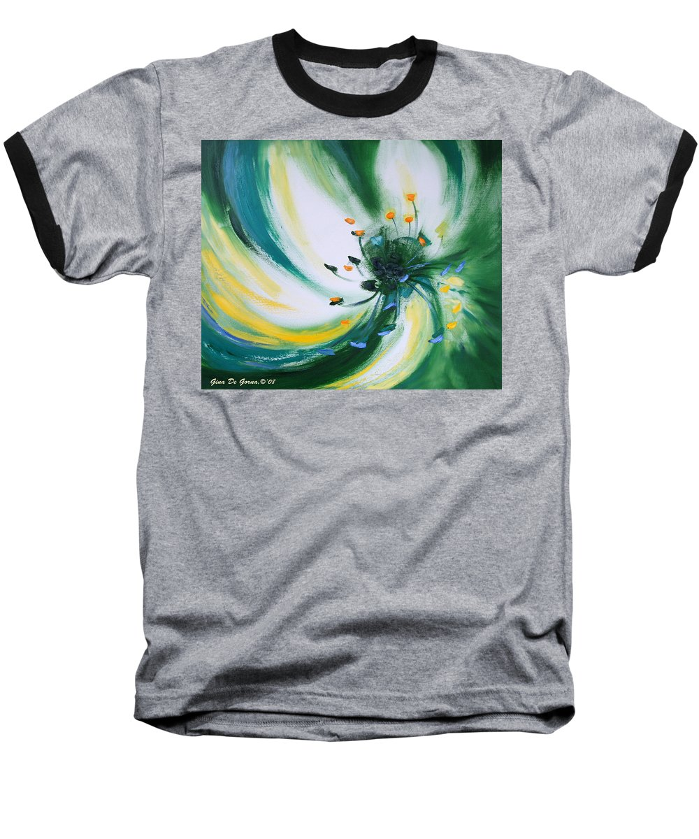 Green Baseball T-Shirt featuring the painting From The Heart Of A Flower Green by Gina De Gorna