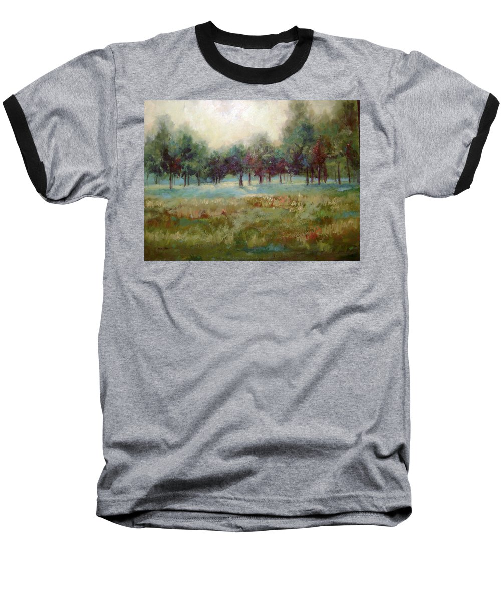 Country Scenes Baseball T-Shirt featuring the painting From The Other Side by Ginger Concepcion