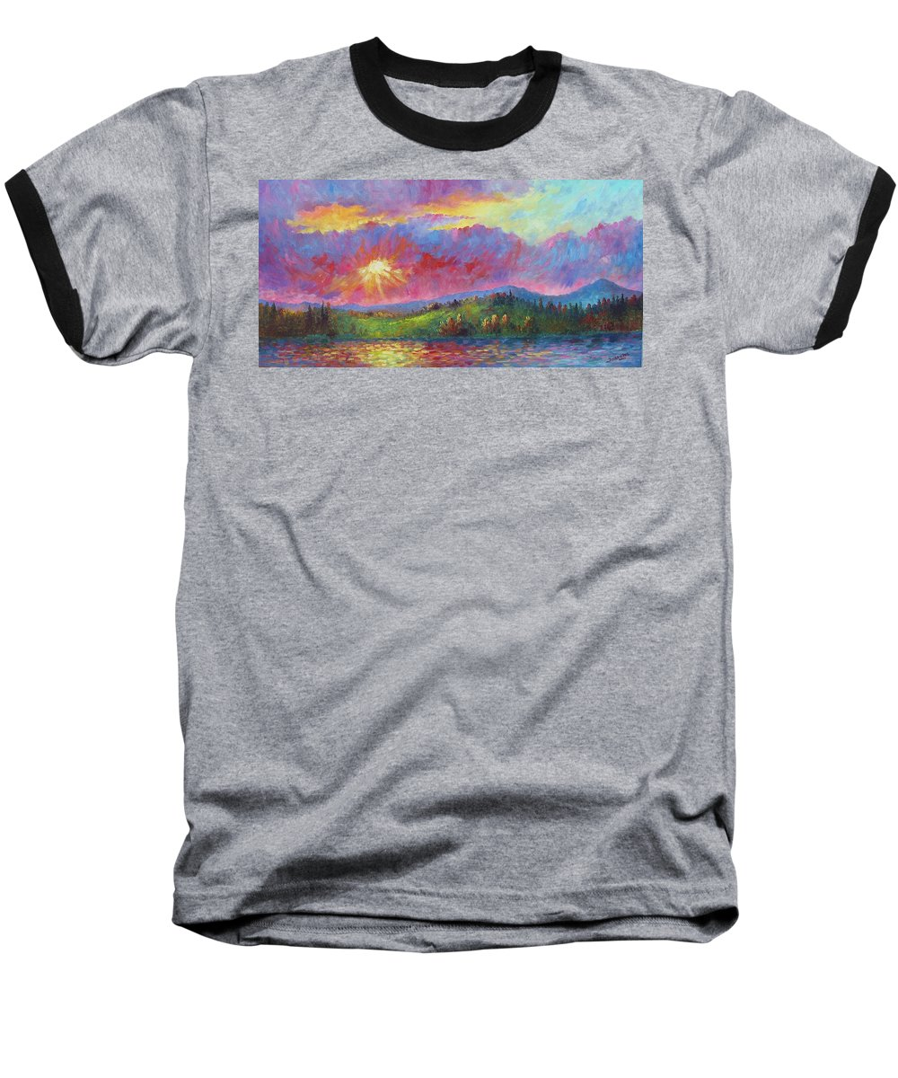 Landscape Baseball T-Shirt featuring the painting Front Range Sunset by David G Paul