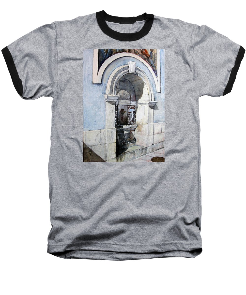 Fuente Baseball T-Shirt featuring the painting Fuente Castro Urdiales by Tomas Castano