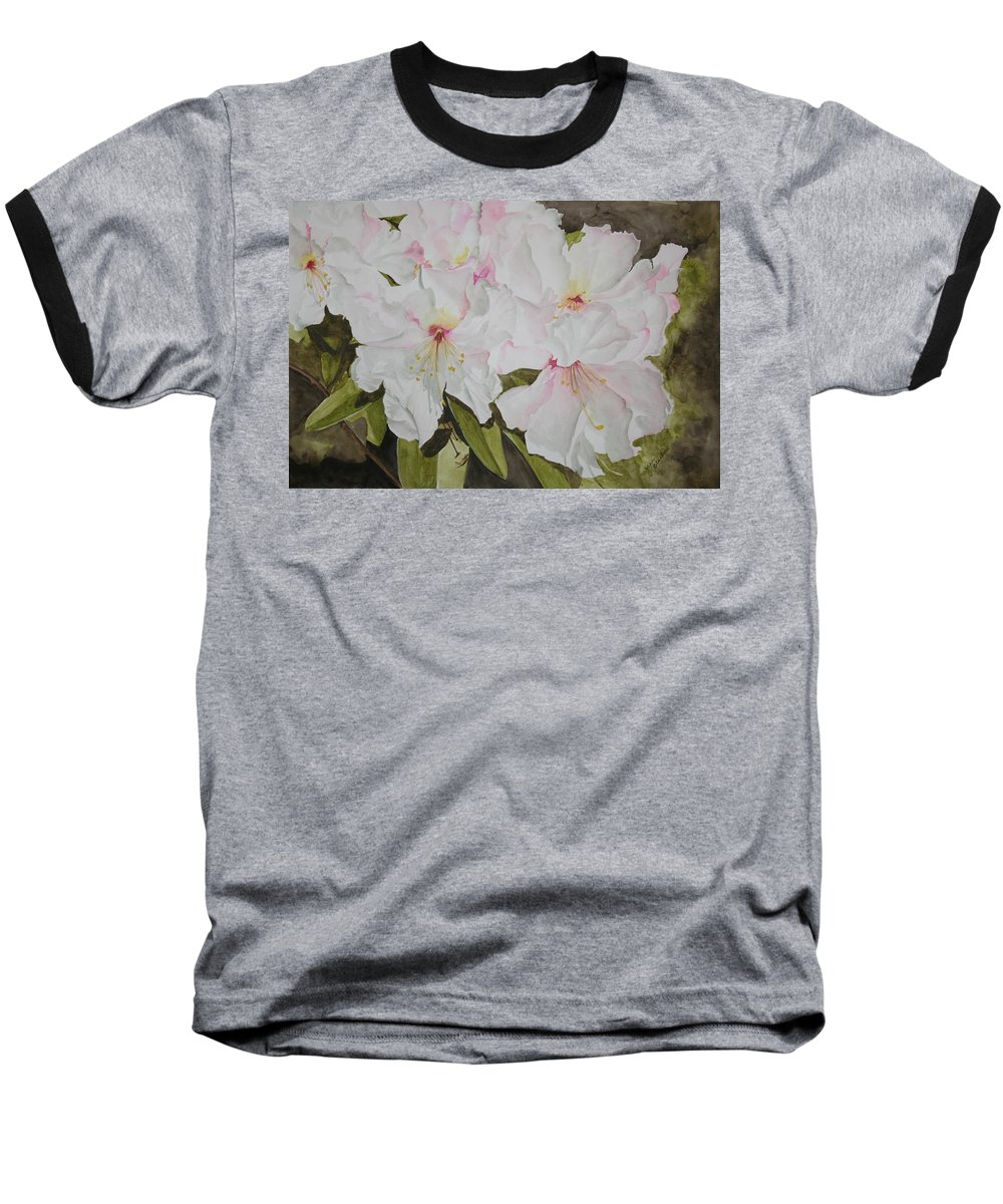 Flowers Baseball T-Shirt featuring the painting Full Bloom by Jean Blackmer
