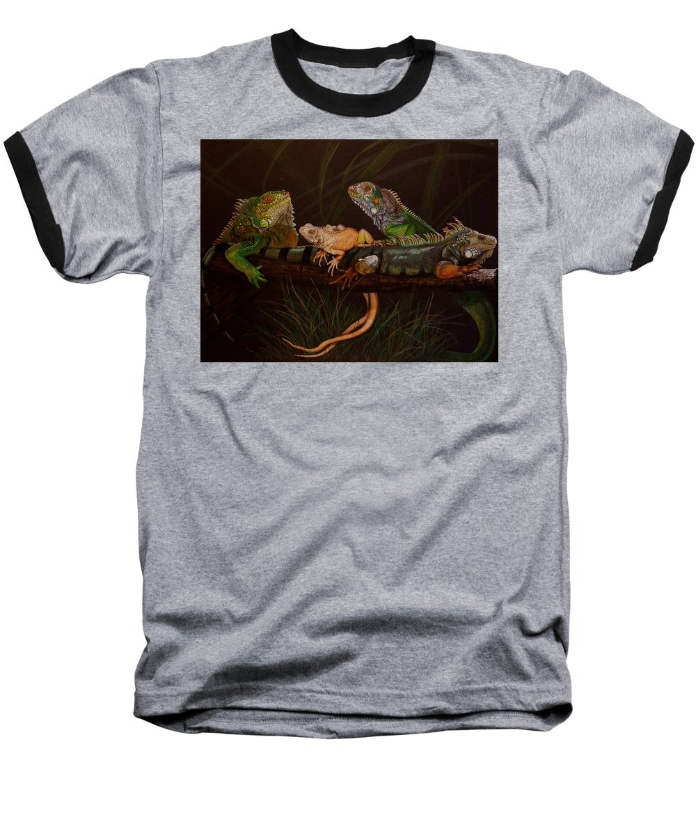 Iguana Baseball T-Shirt featuring the drawing Full House by Barbara Keith