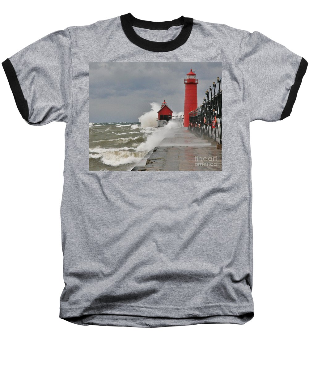 Light House Baseball T-Shirt featuring the photograph Gale Warnings by Robert Pearson