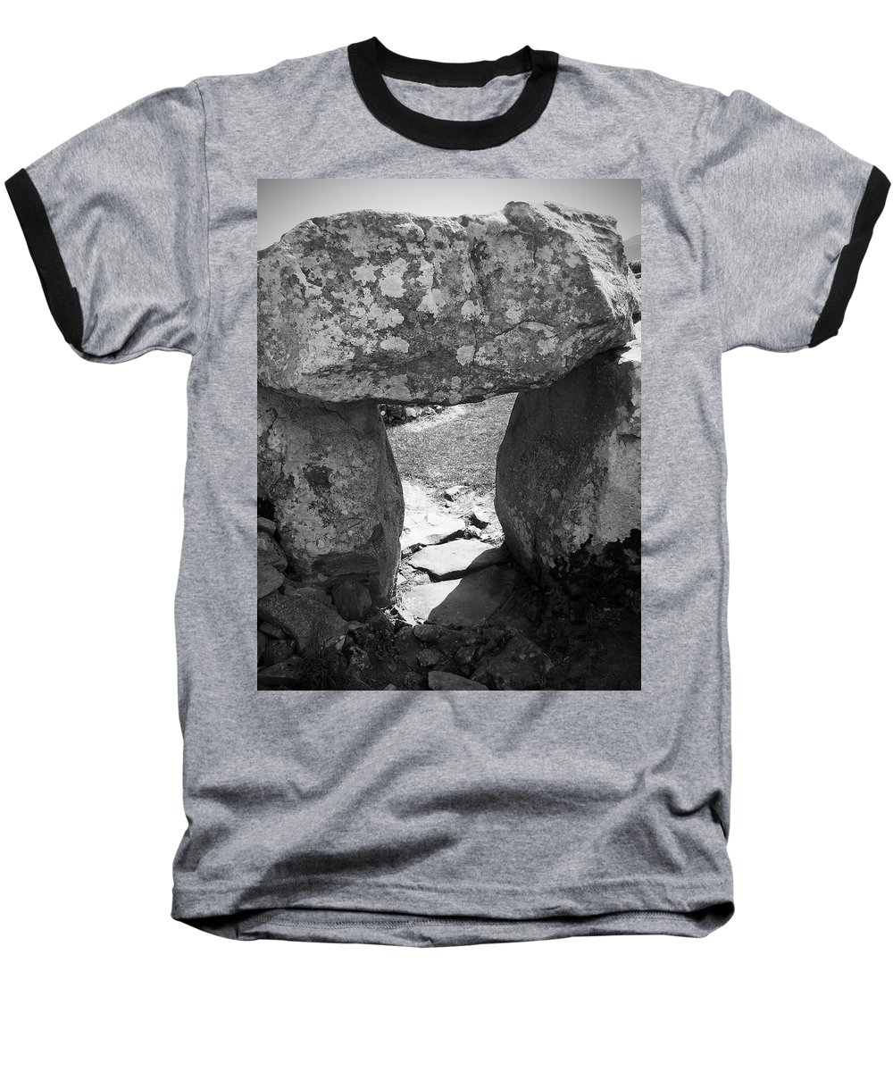 Ireland Baseball T-Shirt featuring the photograph Gallery Entrance At Creevykeel Court Cairn Ireland by Teresa Mucha