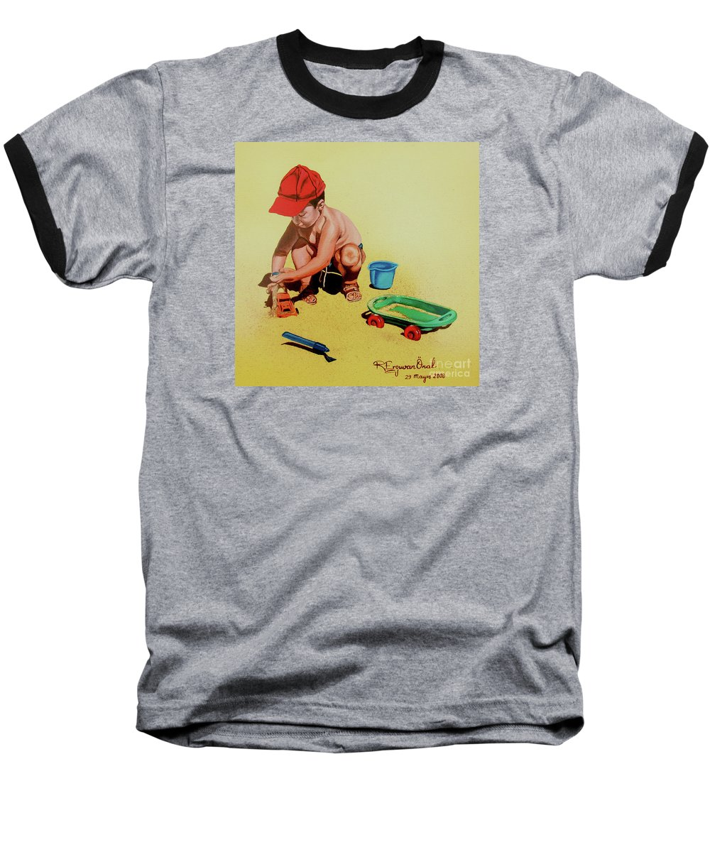 Beach Baseball T-Shirt featuring the painting Game At The Beach - Juego En La Playa by Rezzan Erguvan-Onal