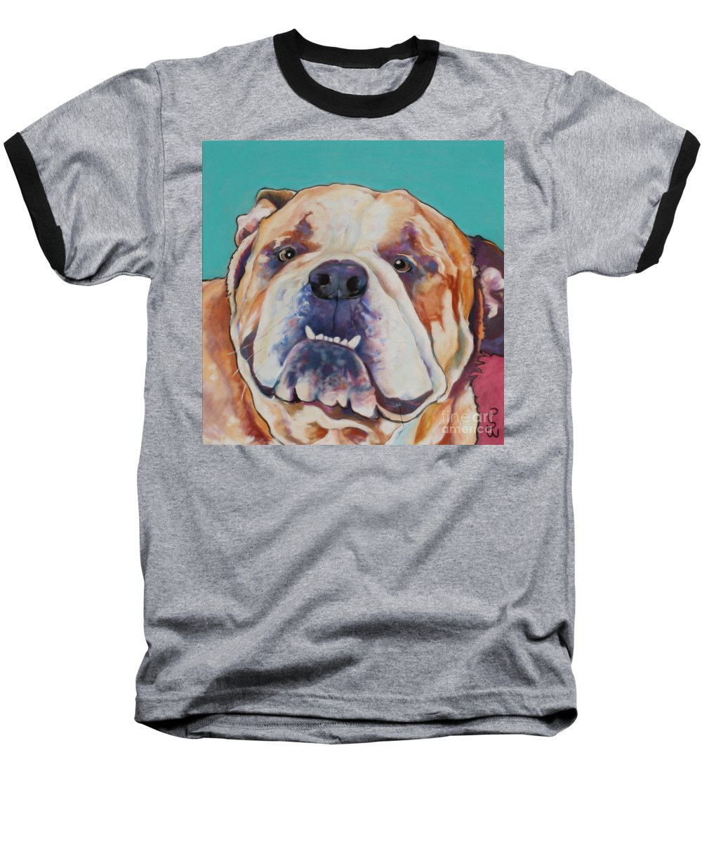 Pat Saunders-white Pet Portraits Baseball T-Shirt featuring the painting Game Face  by Pat Saunders-White