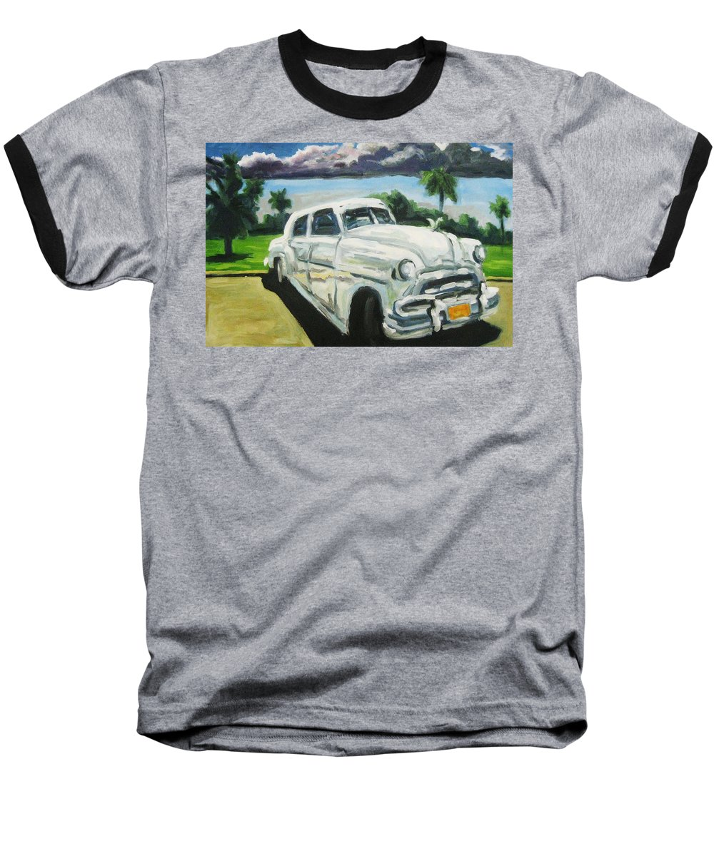 Old Cars Baseball T-Shirt featuring the painting Gangsters On Vacation by John Malone